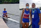 Andriel (izquierda) y la ya clasificada Milena venegas junto al entrenador Joan de Paula.