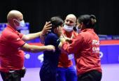Danielqa mantuvo a Cuba en la palestra olímpica y todos la felicitaron. Fotos: Unión Latinoamericana de Tenis de Mesa.