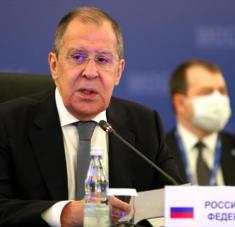 El canciller ruso Serguéi Lavrov en una rueda de prensa en Moscú (capital rusa), 10 de septiembre de 2020. Foto: AFP.