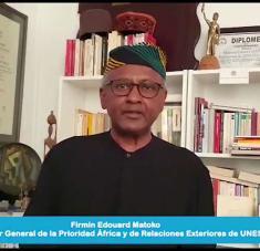 El subdirector general de la Prioridad África de la Unesco, Firmin Edouard Matoko. Foto: Prensa Latina.