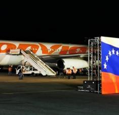 Este fue el vuelo número 11 desde que se puso en marcha el puente aéreo entre ambos países el 19 de marzo del año 2020. Foto: @MinSaludVE