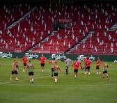 La selección de fútbol de Bélgica durante una sesión de entrenamiento en Parken Stadion, Dinamarca, 4 de septiembre de 2020. Foto: AFP